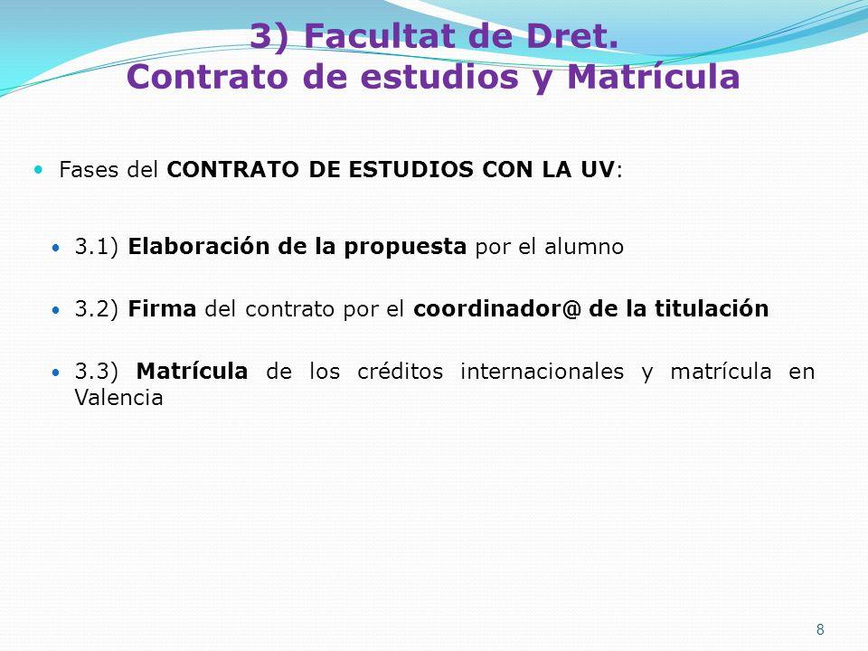 3.1) Elaboración de la propuesta por el alumno A) FORMA DEL CONTRATO Es OBLIGATORIO realizar el contrato de FORMA TELEMÁTICA: http://www.uv.es/portalalumne Manual de ayuda en la confección del contrato telemático, de la UV: http://www.uv.es/relint/cast/form/1112/erasmus/manual_contratoestudios.