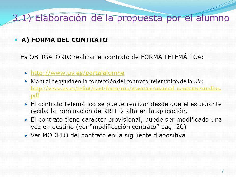 3.1) Elaboración de la propuesta por el alumno A) FORMA DEL CONTRATO Es OBLIGATORIO realizar el contrato de FORMA TELEMÁTICA: http://www.uv.es/portala
