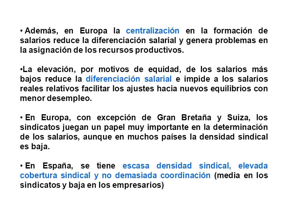 Además, en Europa la centralización en la formación de salarios reduce la diferenciación salarial y genera problemas en la asignación de los recursos