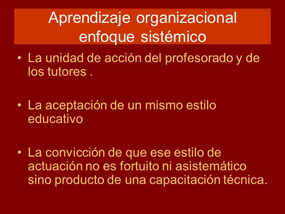 Aprendizaje organizacional enfoque sistémico La unidad de acción del profesorado y de los tutores. La aceptación de un mismo estilo educativo La convi