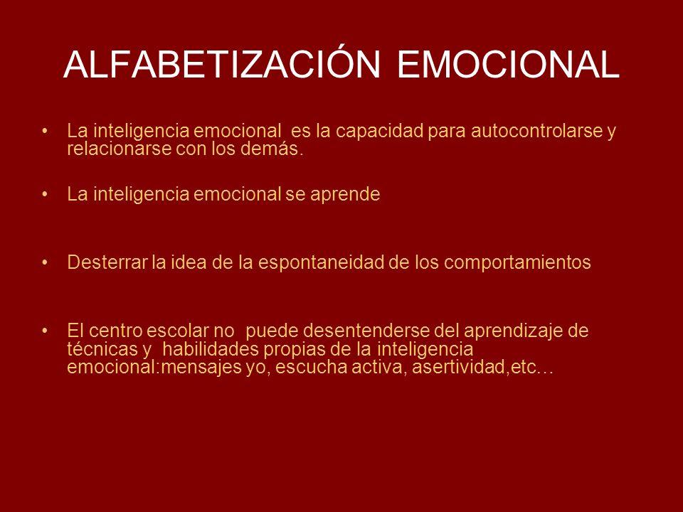 ALFABETIZACIÓN EMOCIONAL La inteligencia emocional es la capacidad para autocontrolarse y relacionarse con los demás. La inteligencia emocional se apr