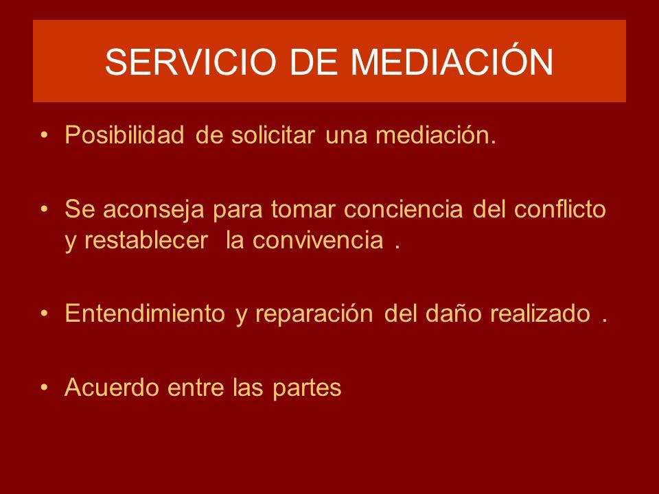 SERVICIO DE MEDIACIÓN Posibilidad de solicitar una mediación. Se aconseja para tomar conciencia del conflicto y restablecer la convivencia. Entendimie