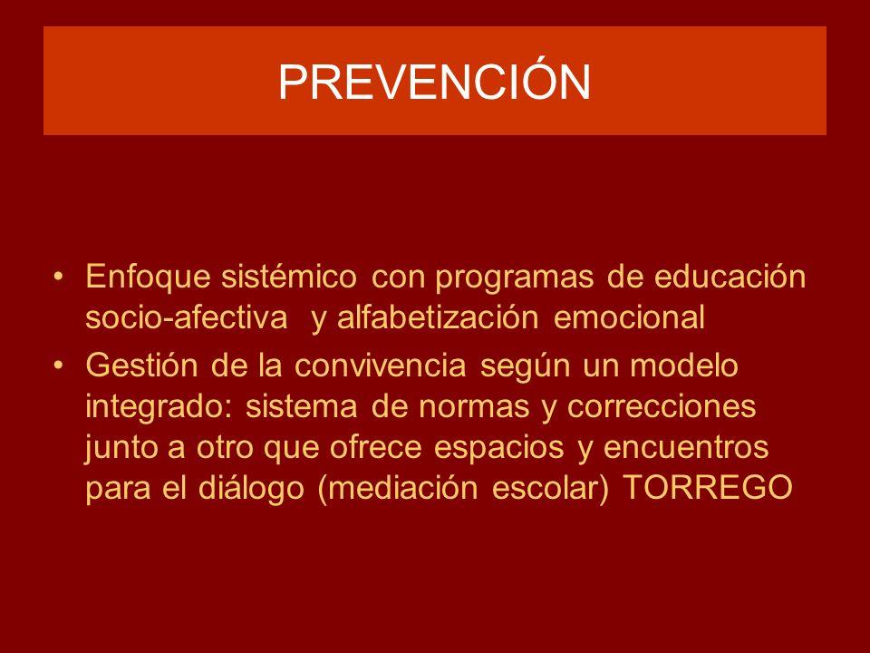 PREVENCIÓN Enfoque sistémico con programas de educación socio-afectiva y alfabetización emocional Gestión de la convivencia según un modelo integrado: