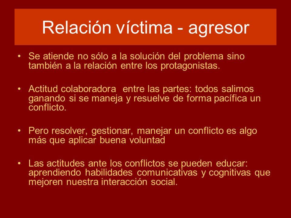 Relación víctima - agresor Se atiende no sólo a la solución del problema sino también a la relación entre los protagonistas. Actitud colaboradora entr