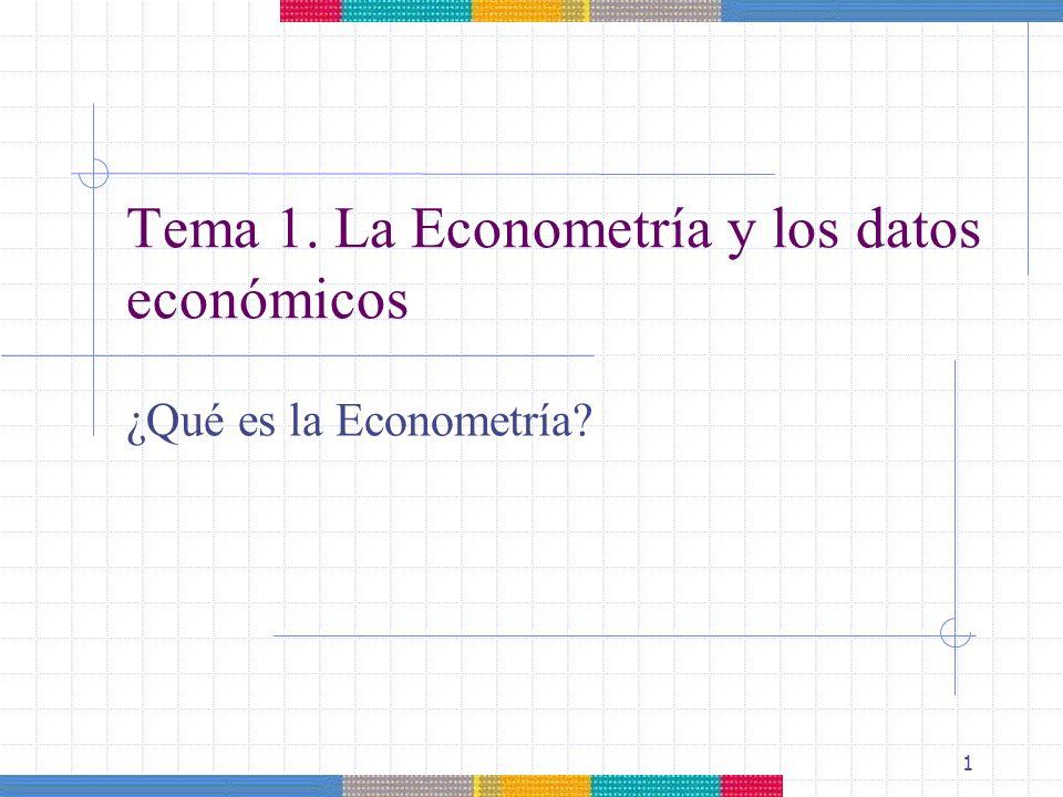 1 ¿Qué es la Econometría? Tema 1. La Econometría y los datos económicos