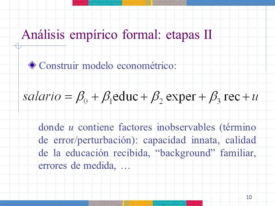10 Análisis empírico formal: etapas II donde u contiene factores inobservables (término de error/perturbación): capacidad innata, calidad de la educac