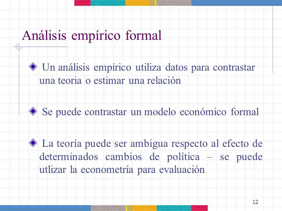 12 Un análisis empírico utiliza datos para contrastar una teoria o estimar una relación Se puede contrastar un modelo económico formal La teoría puede