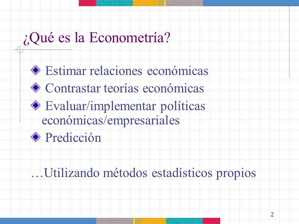 2 ¿Qué es la Econometría? Estimar relaciones económicas Contrastar teorías económicas Evaluar/implementar políticas económicas/empresariales Predicció