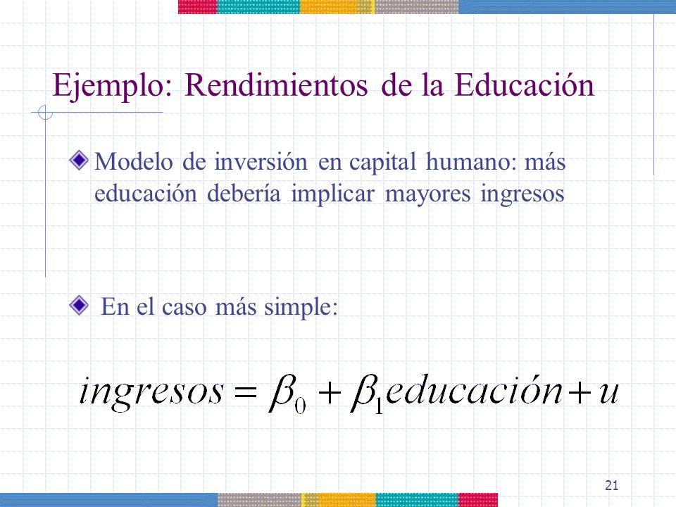 21 Ejemplo: Rendimientos de la Educación Modelo de inversión en capital humano: más educación debería implicar mayores ingresos En el caso más simple:
