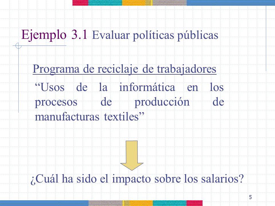 5 Ejemplo 3.1 Evaluar políticas públicas Programa de reciclaje de trabajadores Usos de la informática en los procesos de producción de manufacturas te