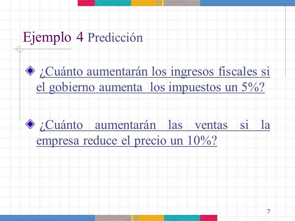 7 Ejemplo 4 Predicción ¿Cuánto aumentarán los ingresos fiscales si el gobierno aumenta los impuestos un 5%? ¿Cuánto aumentarán las ventas si la empres