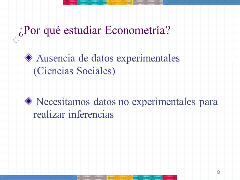 8 ¿Por qué estudiar Econometría? Ausencia de datos experimentales (Ciencias Sociales) Necesitamos datos no experimentales para realizar inferencias