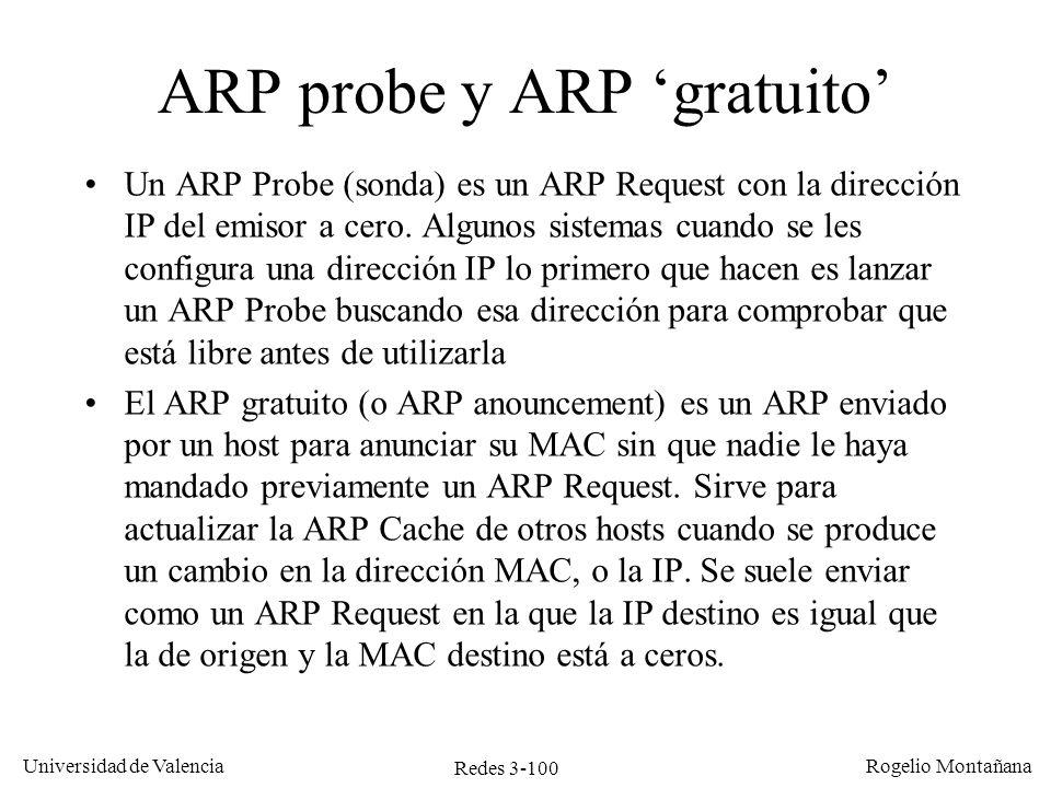 Redes 3-100 Universidad de Valencia Rogelio Montañana Un ARP Probe (sonda) es un ARP Request con la dirección IP del emisor a cero. Algunos sistemas c