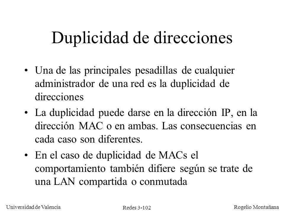 Redes 3-102 Universidad de Valencia Rogelio Montañana Duplicidad de direcciones Una de las principales pesadillas de cualquier administrador de una re