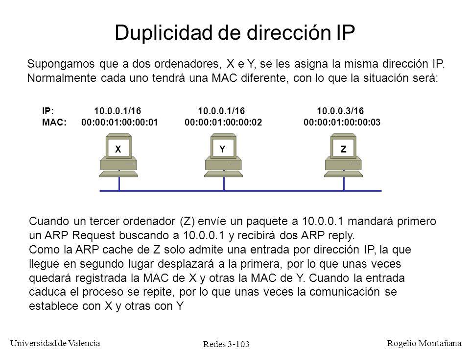 Redes 3-103 Universidad de Valencia Rogelio Montañana IP: 10.0.0.1/16 10.0.0.1/16 10.0.0.3/16 MAC: 00:00:01:00:00:01 00:00:01:00:00:02 00:00:01:00:00: