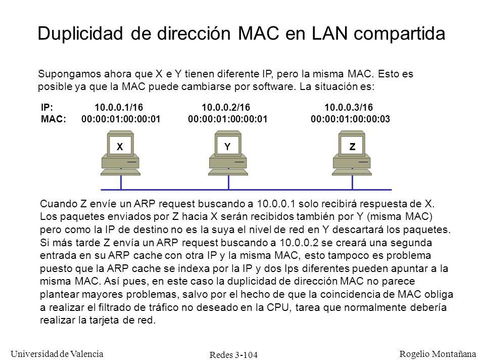 Redes 3-104 Universidad de Valencia Rogelio Montañana IP: 10.0.0.1/16 10.0.0.2/16 10.0.0.3/16 MAC: 00:00:01:00:00:01 00:00:01:00:00:01 00:00:01:00:00: