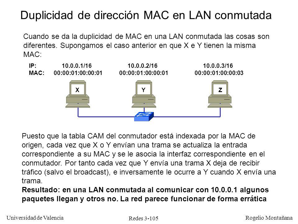 Redes 3-105 Universidad de Valencia Rogelio Montañana IP: 10.0.0.1/16 10.0.0.2/16 10.0.0.3/16 MAC: 00:00:01:00:00:01 00:00:01:00:00:01 00:00:01:00:00: