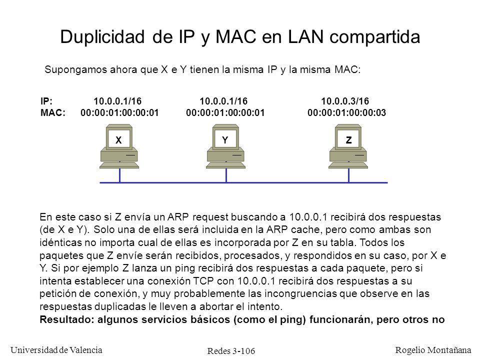 Redes 3-106 Universidad de Valencia Rogelio Montañana IP: 10.0.0.1/16 10.0.0.1/16 10.0.0.3/16 MAC: 00:00:01:00:00:01 00:00:01:00:00:01 00:00:01:00:00: