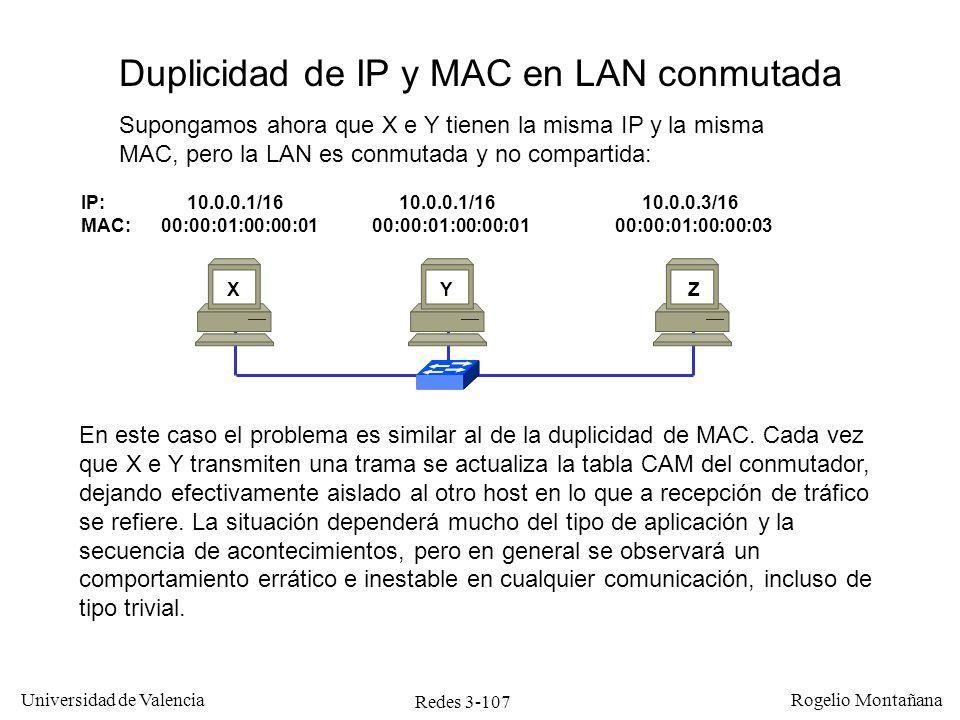 Redes 3-107 Universidad de Valencia Rogelio Montañana IP: 10.0.0.1/16 10.0.0.1/16 10.0.0.3/16 MAC: 00:00:01:00:00:01 00:00:01:00:00:01 00:00:01:00:00: