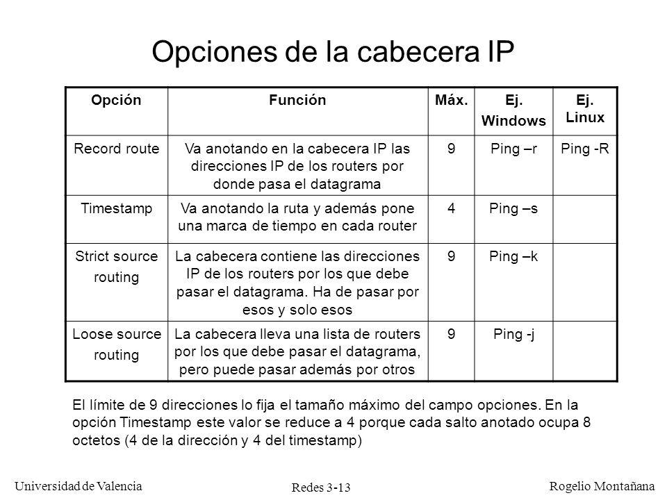 Redes 3-13 Universidad de Valencia Rogelio Montañana OpciónFunciónMáx.Ej. Windows Ej. Linux Record routeVa anotando en la cabecera IP las direcciones