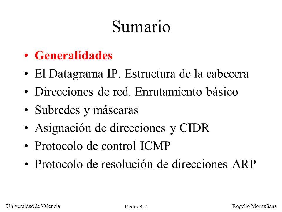 Redes 3-2 Universidad de Valencia Rogelio Montañana Sumario Generalidades El Datagrama IP. Estructura de la cabecera Direcciones de red. Enrutamiento