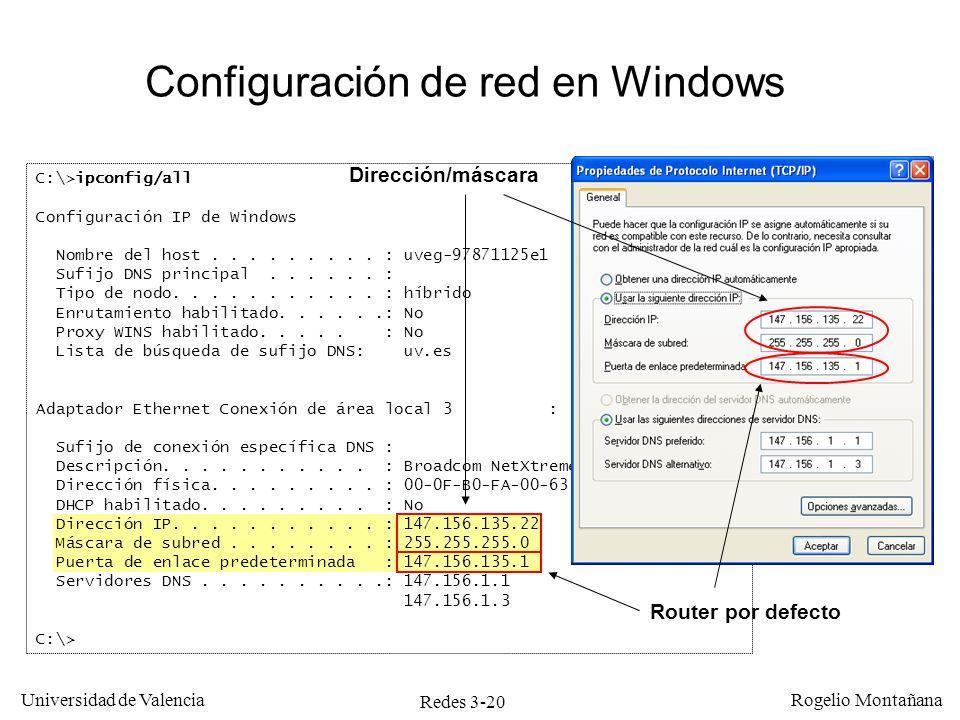 Redes 3-20 Universidad de Valencia Rogelio Montañana C:\>ipconfig/all Configuración IP de Windows Nombre del host......... : uveg-97871125e1 Sufijo DN