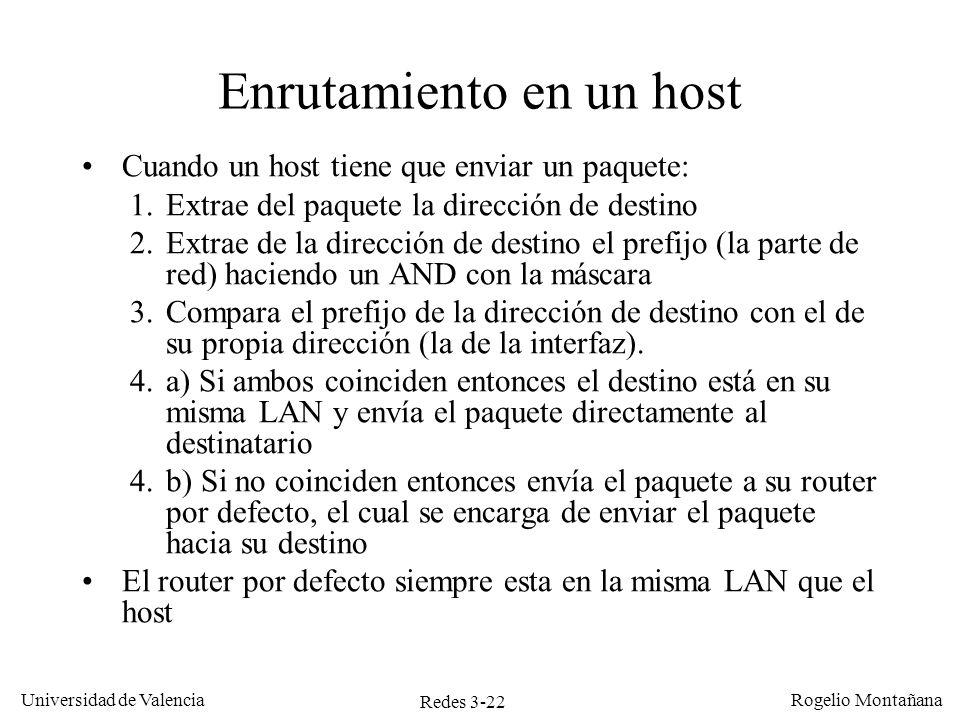 Redes 3-22 Universidad de Valencia Rogelio Montañana Enrutamiento en un host Cuando un host tiene que enviar un paquete: 1.Extrae del paquete la direc