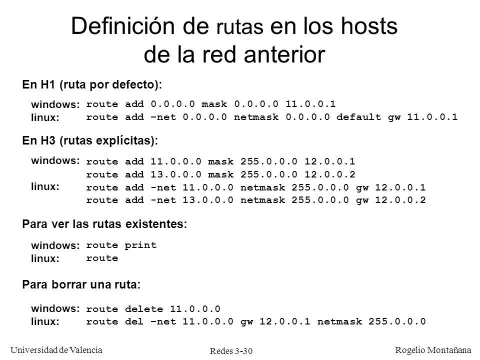 Redes 3-30 Universidad de Valencia Rogelio Montañana Definición de rutas en los hosts de la red anterior En H1 (ruta por defecto): windows: linux: En
