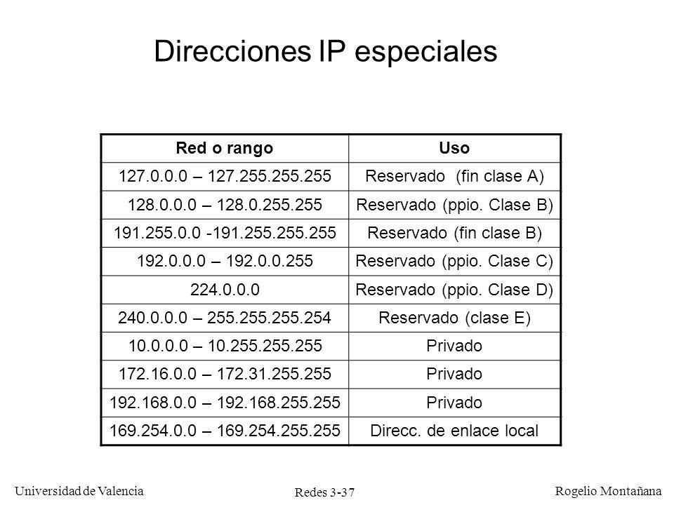 Redes 3-37 Universidad de Valencia Rogelio Montañana Red o rangoUso 127.0.0.0 – 127.255.255.255Reservado (fin clase A) 128.0.0.0 – 128.0.255.255Reserv