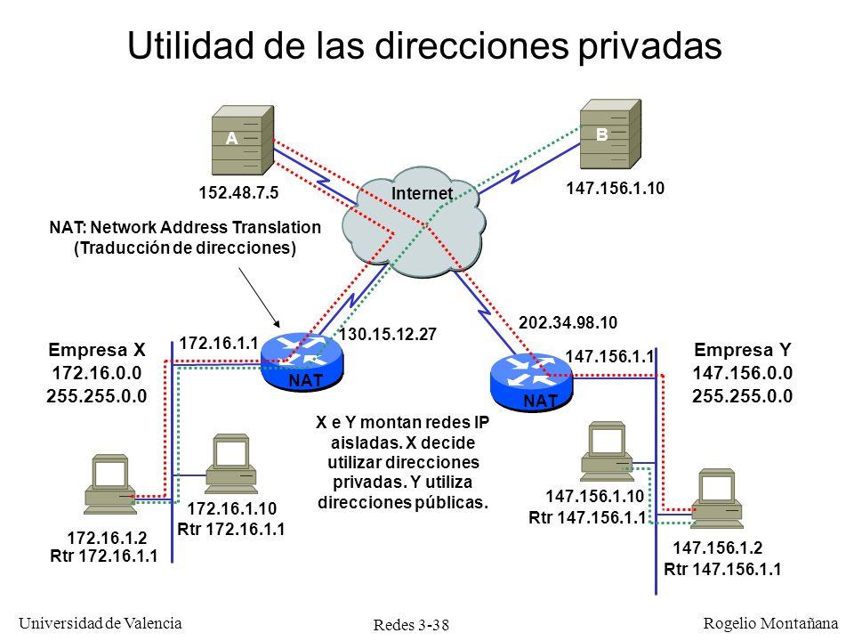Redes 3-38 Universidad de Valencia Rogelio Montañana 172.16.1.10 NAT 172.16.1.2 Empresa X 172.16.0.0 255.255.0.0 147.156.1.2 Utilidad de las direccion