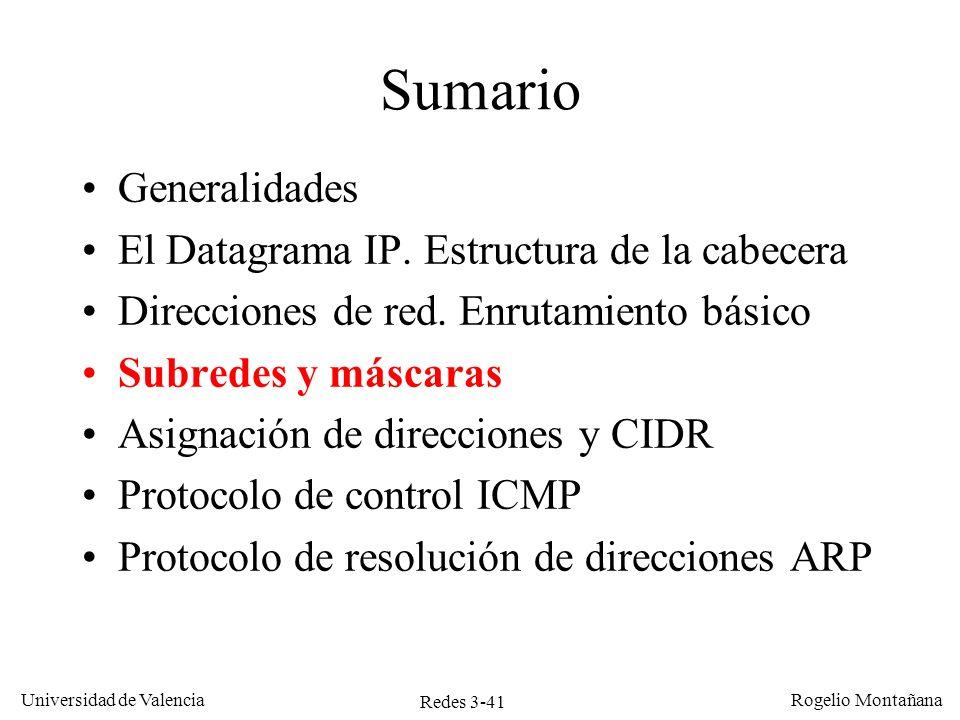 Redes 3-41 Universidad de Valencia Rogelio Montañana Sumario Generalidades El Datagrama IP. Estructura de la cabecera Direcciones de red. Enrutamiento