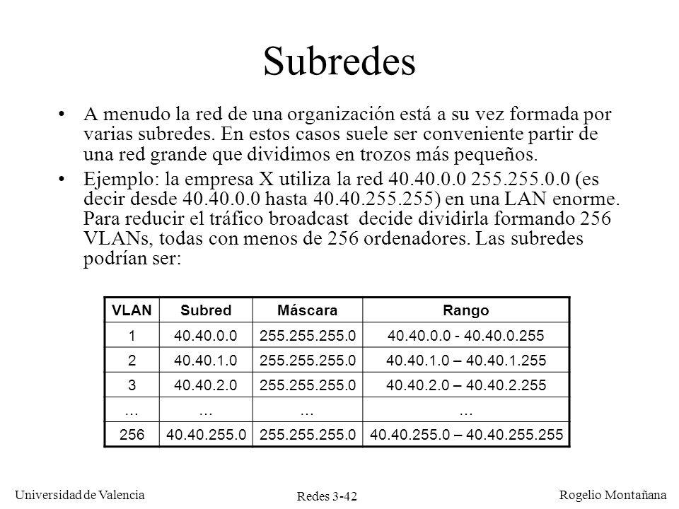 Redes 3-42 Universidad de Valencia Rogelio Montañana Subredes A menudo la red de una organización está a su vez formada por varias subredes. En estos