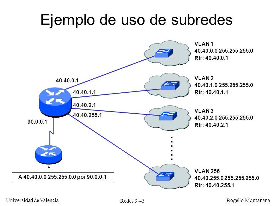 Redes 3-43 Universidad de Valencia Rogelio Montañana Ejemplo de uso de subredes VLAN 1 40.40.0.0 255.255.255.0 Rtr: 40.40.0.1 VLAN 2 40.40.1.0 255.255