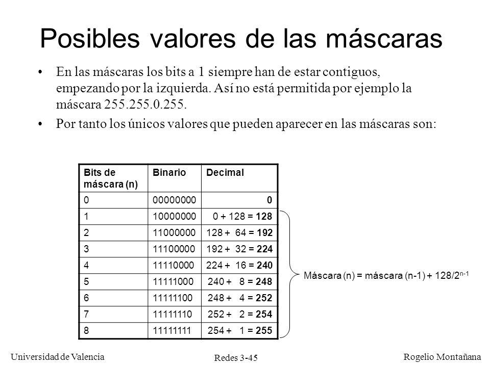 Redes 3-45 Universidad de Valencia Rogelio Montañana Posibles valores de las máscaras En las máscaras los bits a 1 siempre han de estar contiguos, emp