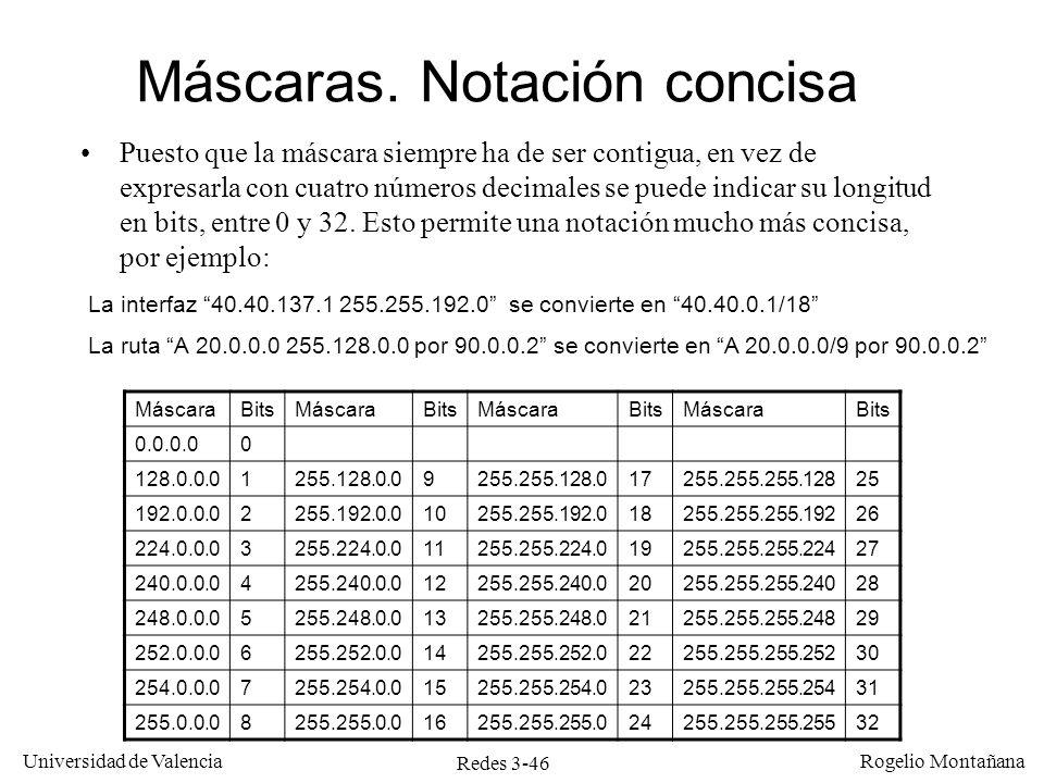 Redes 3-46 Universidad de Valencia Rogelio Montañana Máscaras. Notación concisa Puesto que la máscara siempre ha de ser contigua, en vez de expresarla