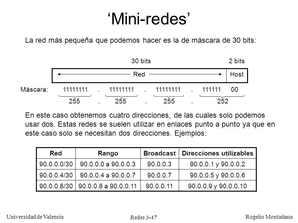 Redes 3-47 Universidad de Valencia Rogelio Montañana La red más pequeña que podemos hacer es la de máscara de 30 bits: RedHost 30 bits2 bits Máscara: