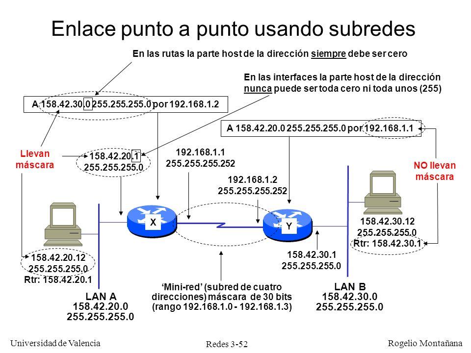 Redes 3-52 Universidad de Valencia Rogelio Montañana 158.42.20.12 255.255.255.0 Rtr: 158.42.20.1 158.42.20.1 255.255.255.0 158.42.30.1 255.255.255.0 1