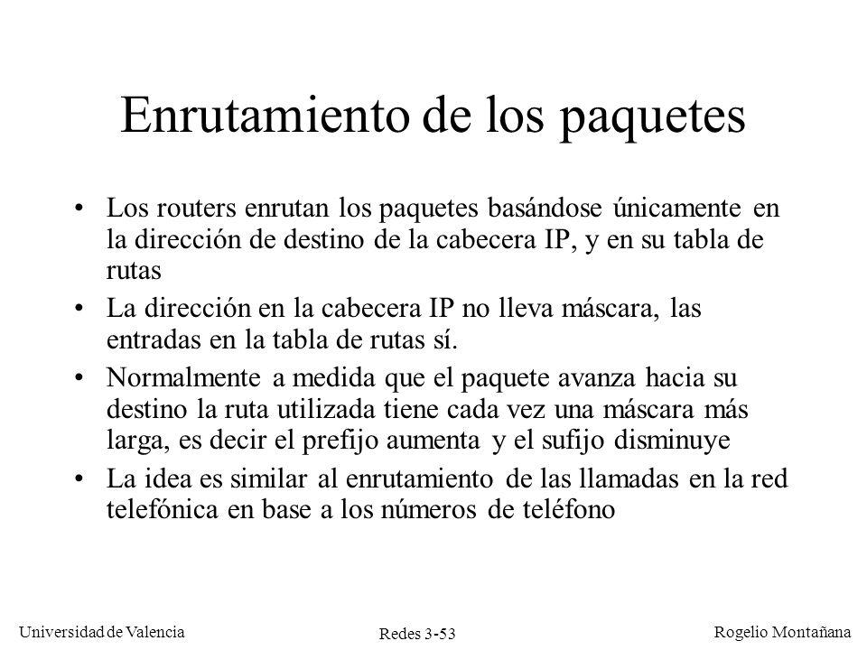 Redes 3-53 Universidad de Valencia Rogelio Montañana Enrutamiento de los paquetes Los routers enrutan los paquetes basándose únicamente en la direcció