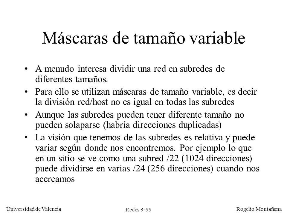 Redes 3-55 Universidad de Valencia Rogelio Montañana Máscaras de tamaño variable A menudo interesa dividir una red en subredes de diferentes tamaños.