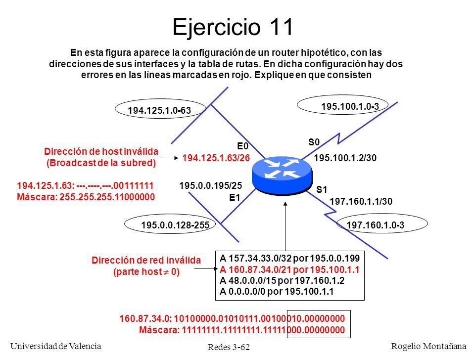 Redes 3-62 Universidad de Valencia Rogelio Montañana Ejercicio 11 194.125.1.63/26 E0 E1 S0 S1 195.0.0.195/25 195.0.0.128-255 194.125.1.0-63 Dirección
