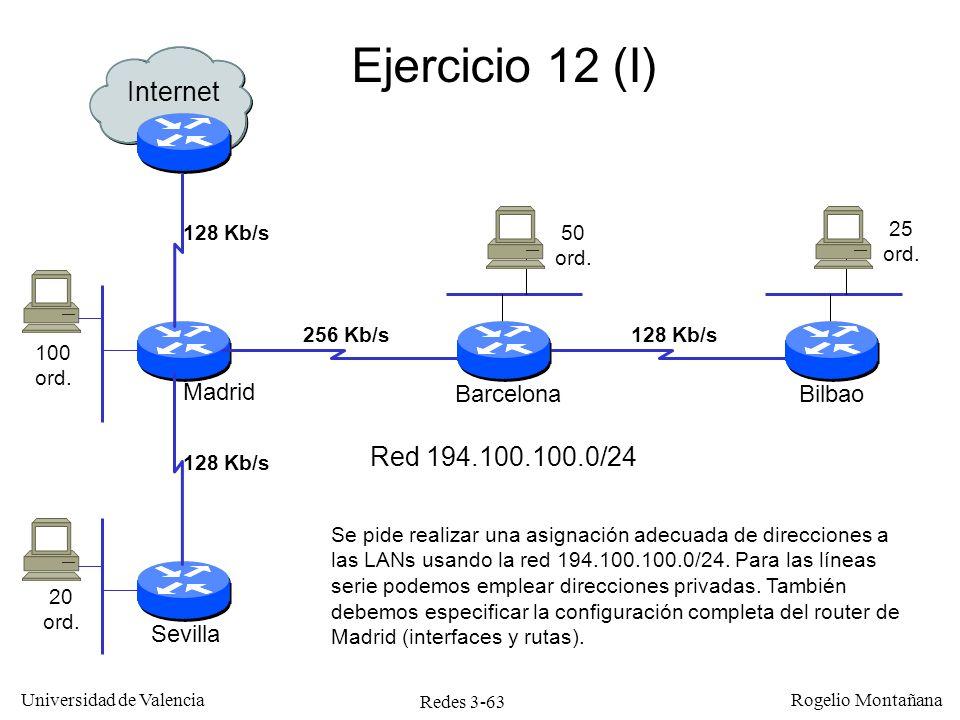 Redes 3-63 Universidad de Valencia Rogelio Montañana Ejercicio 12 (I) Internet Madrid Barcelona Sevilla Bilbao 128 Kb/s 256 Kb/s128 Kb/s 100 ord. 20 o