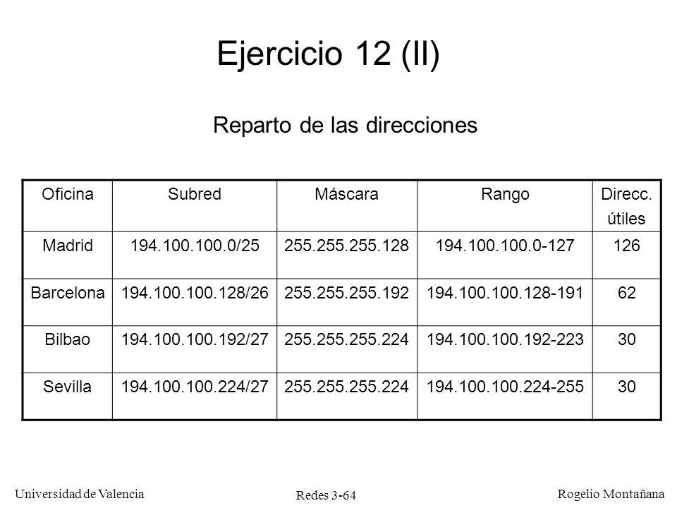 Redes 3-64 Universidad de Valencia Rogelio Montañana Ejercicio 12 (II) OficinaSubredMáscaraRangoDirecc. útiles Madrid194.100.100.0/25255.255.255.12819