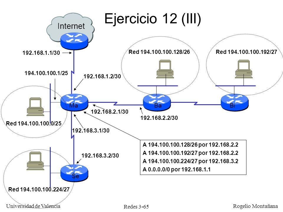Redes 3-65 Universidad de Valencia Rogelio Montañana Ejercicio 12 (III) Internet MaBa Se Bi 194.100.100.1/25 192.168.1.2/30 192.168.2.1/30 192.168.3.1