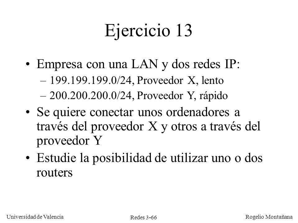 Redes 3-66 Universidad de Valencia Rogelio Montañana Ejercicio 13 Empresa con una LAN y dos redes IP: –199.199.199.0/24, Proveedor X, lento –200.200.2