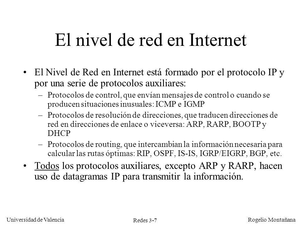 Redes 3-7 Universidad de Valencia Rogelio Montañana El nivel de red en Internet El Nivel de Red en Internet está formado por el protocolo IP y por una