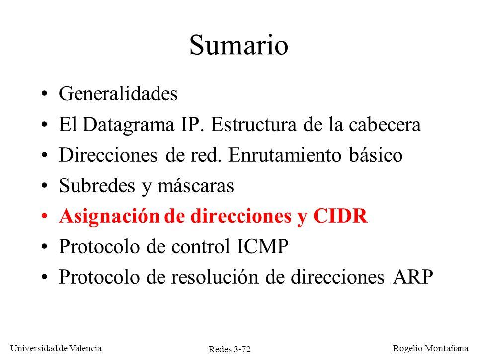 Redes 3-72 Universidad de Valencia Rogelio Montañana Sumario Generalidades El Datagrama IP. Estructura de la cabecera Direcciones de red. Enrutamiento