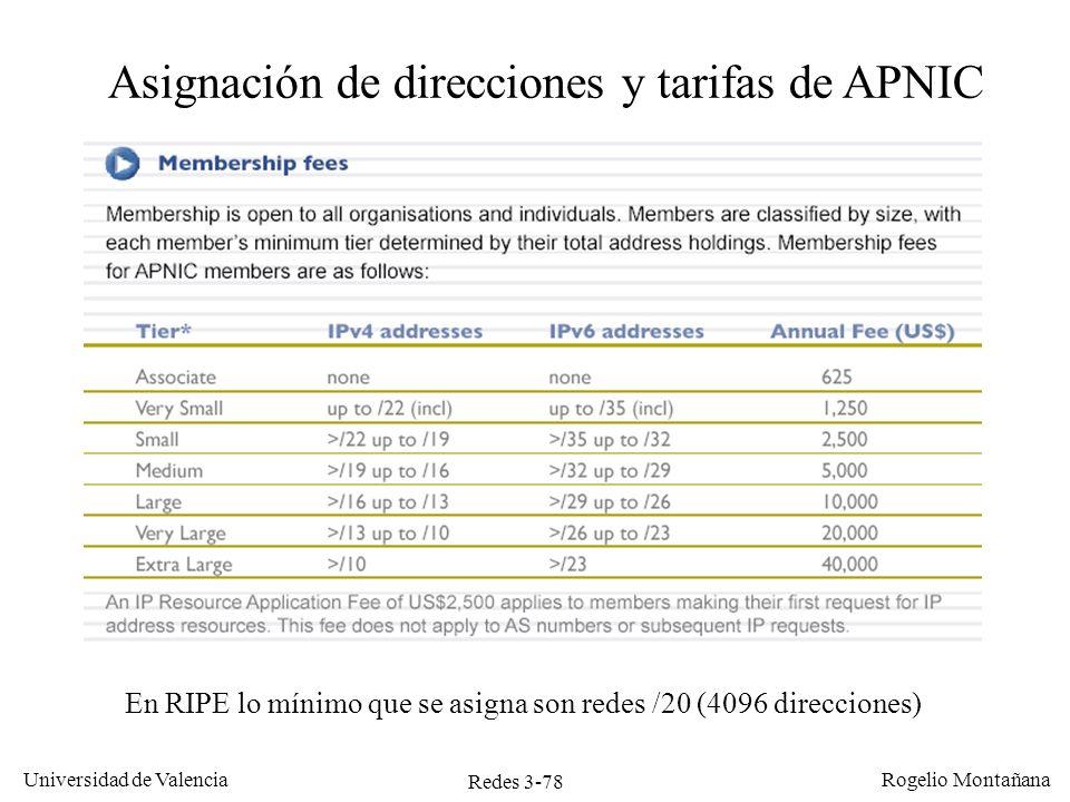 Redes 3-78 Universidad de Valencia Rogelio Montañana Asignación de direcciones y tarifas de APNIC En RIPE lo mínimo que se asigna son redes /20 (4096