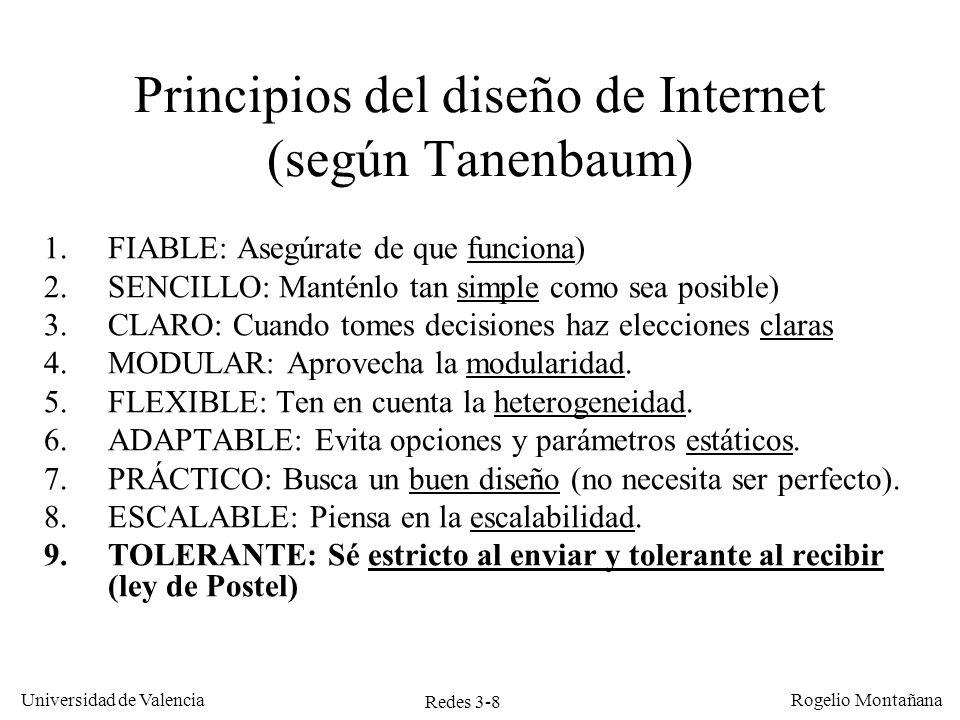 Redes 3-8 Universidad de Valencia Rogelio Montañana Principios del diseño de Internet (según Tanenbaum) 1.FIABLE: Asegúrate de que funciona) 2.SENCILL