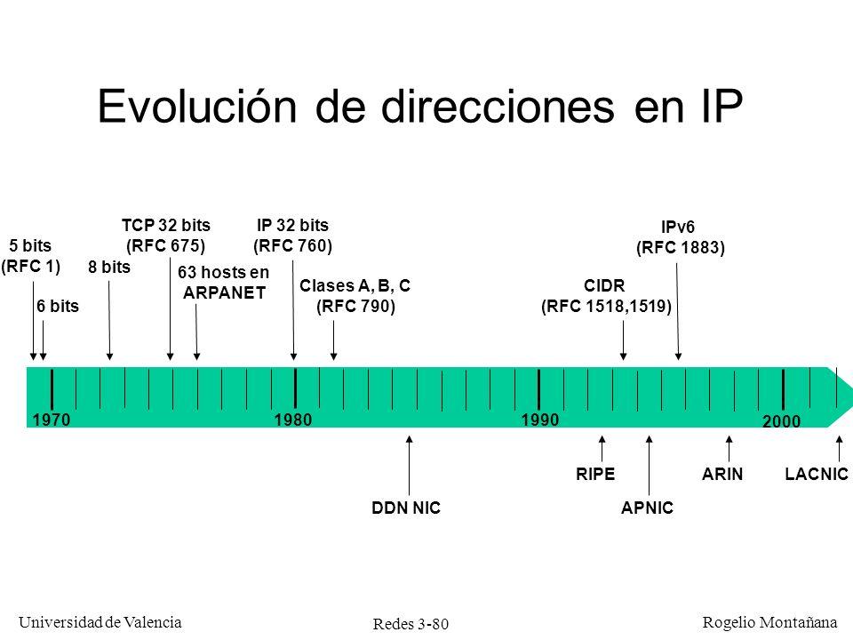 Redes 3-80 Universidad de Valencia Rogelio Montañana Evolución de direcciones en IP 5 bits (RFC 1) 6 bits 8 bits TCP 32 bits (RFC 675) 63 hosts en ARP