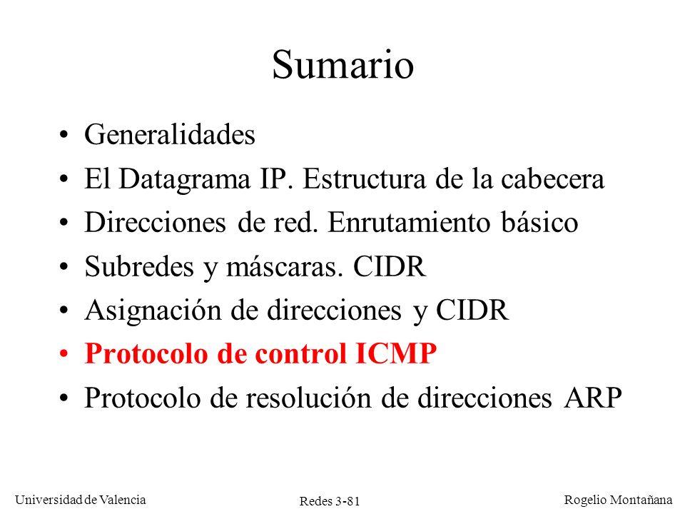 Redes 3-81 Universidad de Valencia Rogelio Montañana Sumario Generalidades El Datagrama IP. Estructura de la cabecera Direcciones de red. Enrutamiento